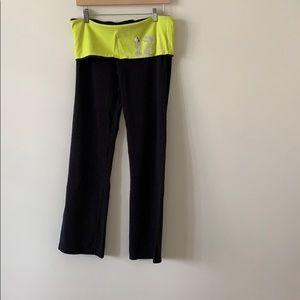 Yoga Pants Black & Yellow Size L